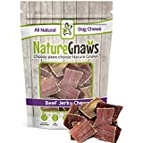 "Nature Gnaws Beef Jerky Bites 3-4"" (20 Pack) - 100% All-Natural Grass-Fed Free-Range Premium Beef Dog Chews"