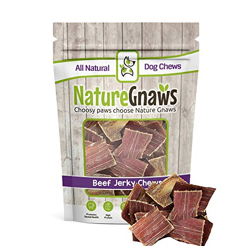 Nature Gnaws Beef Jerky Bites 3-4″ (20 Pack) – 100% All-Natural Grass-Fed Free-Range Premium Beef Dog Chews Review