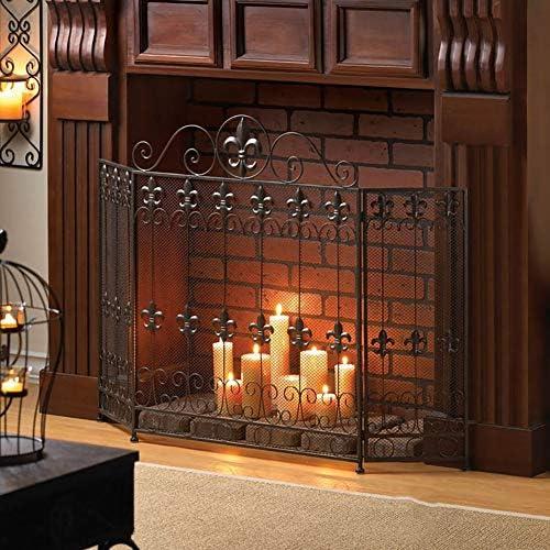 ZLI 暖炉スクリーン 黒い暖炉のスクリーン、家の防火柵の居間の錬鉄の床立つ火花監視、赤ん坊の安全な暖炉の,、 38×33.5in (Color : Black)