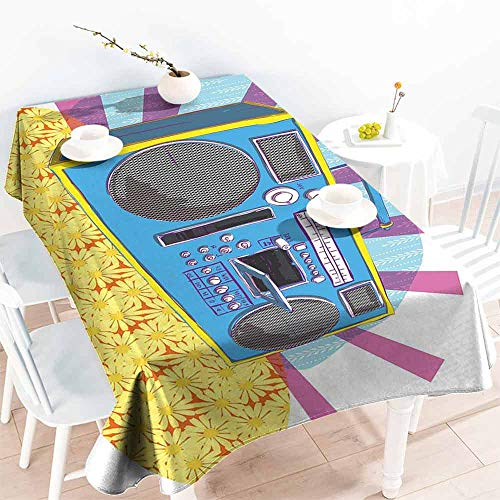HCCJLCKS Easy Care Tablecloth 70s Party Retro Boom Box in Pop Art Manner Dance Music Colorful Composition Artwork Print Excellent Durability W50 xL80 Multicolor