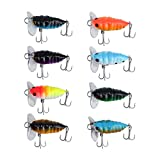 LiNKFOR 8 pcs Cicada Fishing Lure Topwater Popper Crawler Surface Freshwater Bream Bass Cod
