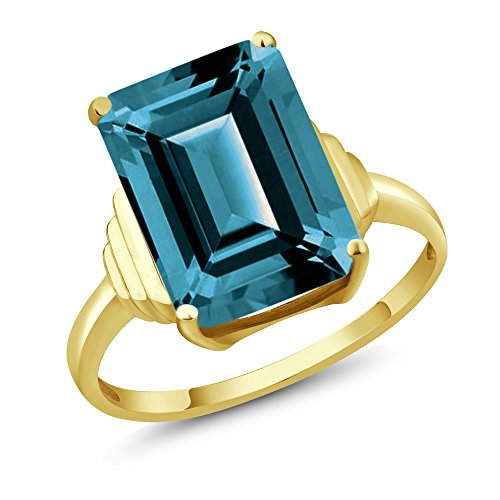 Gem Stone King 8.50 Ct Emerald Cut London Blue Topaz 18K Yellow Gold Plated Silver Ring (Size 7) (Ring Topaz 18k)