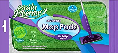 Swiffer WetJet Compatible Microfiber Mop Pads by Easily Greener, Reusable Refills for Wet Jet, 2 Pack