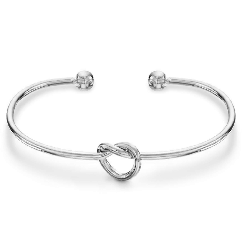 PAVOI Rhodium Plated Adjustable Infinity Forever Love Knot Bracelet Bangle