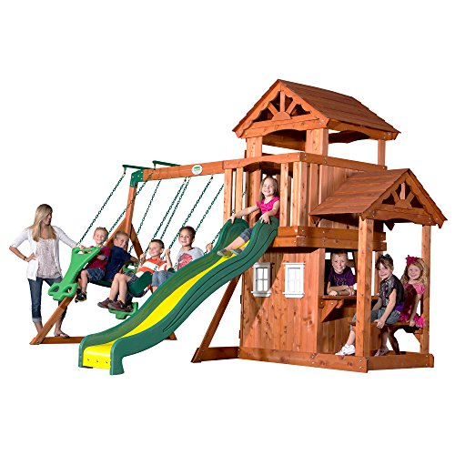 Backyard Discovery Tanglewood All Cedar Wood Playset Swing Set (Best Outdoor Playset For 2 Year Old)