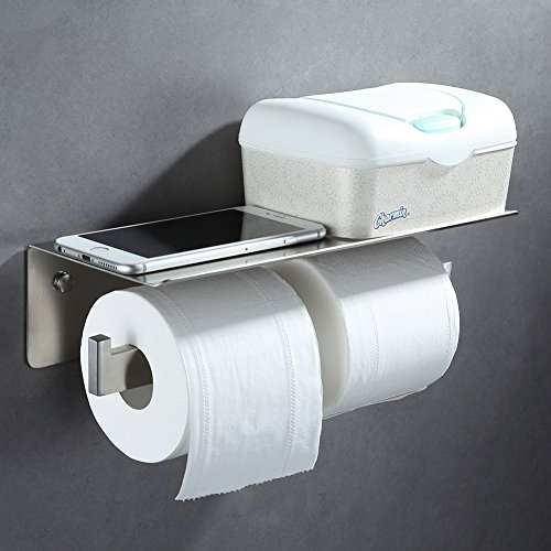 Double Toilet Paper Holder, Angle Simple SUS304 Stainless Steel Bathroom Tissue Holder With Phone Shelf Lavatory Paper Roll Hanger Tissue Roll Holder Shelf for Phone Wet Wipes Brushed - Bathroom Accessories Commercial