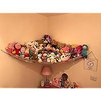 Toy Hammocks, Huijukon Corner Toy Hammock Cuddly Toy Storage Hammock Net Organiser for Cuddly Toys, Stuffed Animals, Teddies (White)