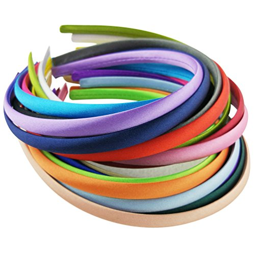 Hixixi 20pcs pack Girls/Women Diy Satin Fabric Covered Ribbon Headbands Hairband (20pcs 10mm Different Colours) -