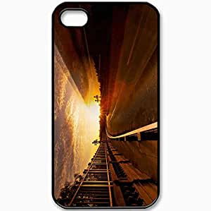 Protective Case Back Cover For iPhone 4 4S Case Road Fence Sky Sun Light Black