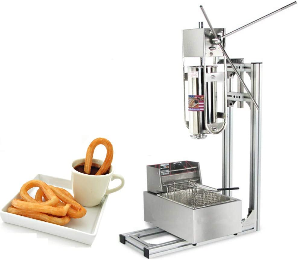 JIAWANSHUN 5L Commercial Churros Maker Spanish Churros Making Machine with 6L Electric Deep Fryer 5 Molds (220V)