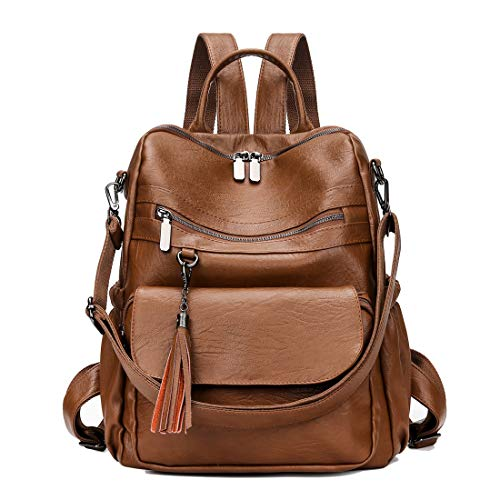 Fashion Backpack Purse PU Leather Rucksack Convertible Tassel Handbag College Bookbag Shoulder Tote Bag (Brown)
