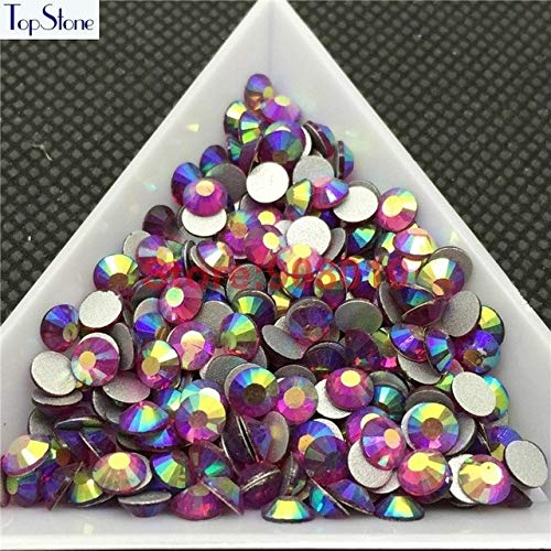 Calvas All Sizes AB Colors ss3-ss30 Flat Back Nail Art Non Hotfix Rhinestones 3D Flatbacks Nail Decoration Jewelry Crystals - (Color: Rose AB, Item Diameter: 16ss 1440pcs)