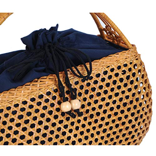 Women's Bag, Handbag - Rattan Woven Bag - Tea Ceremony Zero with Shopping Basket - Tea Set Storage Bag - Daily Retro Handbag by BHM (Image #6)