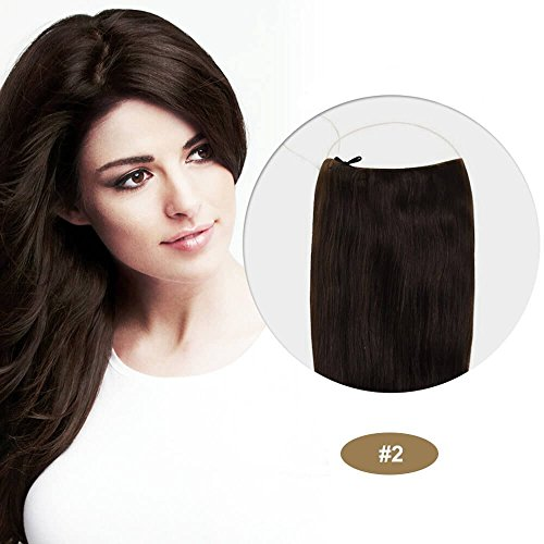 22 Inch Invisible Wire Hair Extensions Secret Halo Flip in Hair Extension Full Head Synthetic Straight Hair 85g Dark Brown(#2)