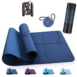 ANVASK Yogamatte rutschfest sportmatte für Training Pilates Gymnastik, TPE schadstofffrei gymnastikmatte turnmatte mit…