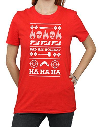 T Christmas Holiday Rojo Fit Suicide shirt Squad Donna Boyfriend nRUqtwgXx