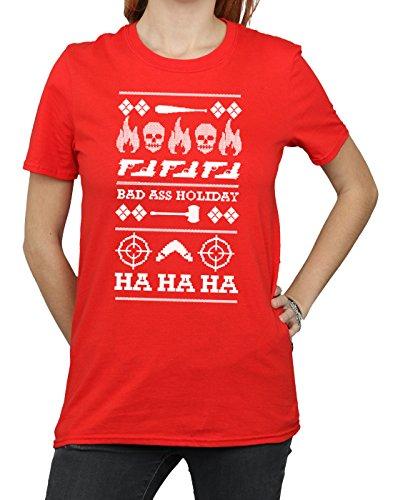 Christmas Donna Fit Holiday Squad Rojo shirt T Boyfriend Suicide gwqPEax
