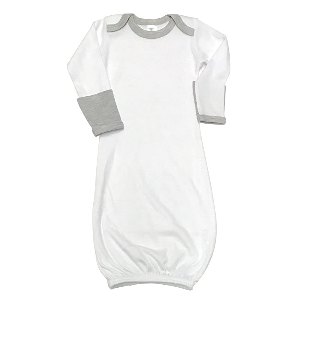 Laughing Giraffe Baby Long Sleeve Ringer Gown with Fold Over Mittens White//Heather