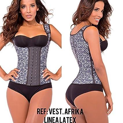 7ff8cf759 Womens Chaleco Contrast Trim Latex Core Afrika Print Waist Cincher Vest  (L-36)