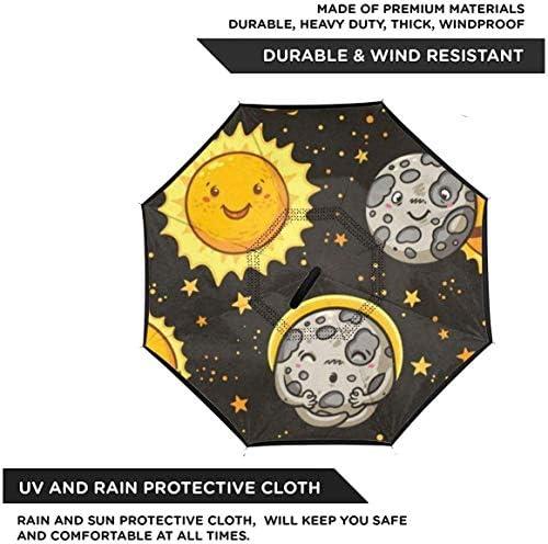 日食 ユニセックス二重層防水ストレート傘車逆折りたたみ傘C形ハンドル付き