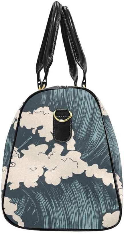 InterestPrint Ocean Waves Carry-on Garment Bag Travel Bag Duffel Bag Weekend Bag