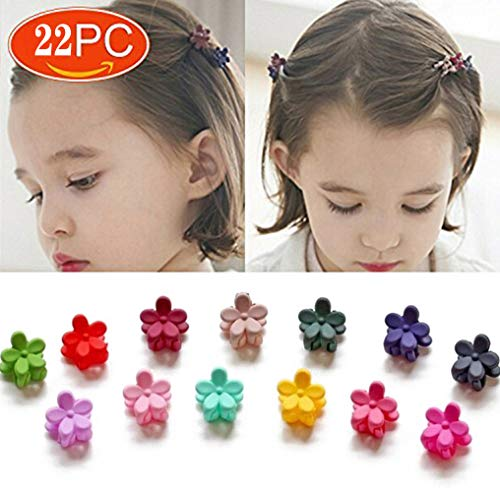 (Mini Flower Hair Clip,22 PCS Mini Flower Hair Claw Clips Hair Pin For Little Girls Random Assorted Colored)
