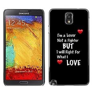 TECHCASE**Cubierta de la caja de protección la piel dura para el ** Samsung Galaxy Note 3 N9000 N9002 N9005 ** Lover Fighter Heart Text Quote Black Red