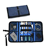 Patu Roll Up Electronics Accessories Travel Gear Organizer Case, Portable Universal External Batteries Hard Drives Cables Cosmetics Kit Bag, Navy