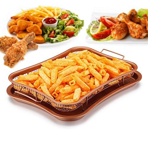 Crisper Tray - Non Stick Cookie Sheet Tray And Air Fry Mesh Basket Set, Transform Your Oven Into Oil Free Air Fryer, Rhombus