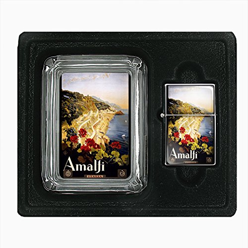Glass Ashtray Oil Lighter Gift Set Vintage Poster D-021 ITALY VINTAGE TRAVEL Amalfi 1910 by Perfection In Style