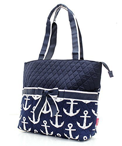 Quilted Navy And White Nautical Anchor Theme Print Monogrammable 3 Piece Diaper Bag With Changing Pad Tote Bag -