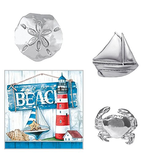 Mariposa Napkin Weights - Set of Three Weights & To the Beach Themed 20 Count Paper Cocktail Napkin Bundle - Weights Include Sailboat, Sand Dollar and Crab Napkin Weights Mariposa Cocktail Napkin Holder