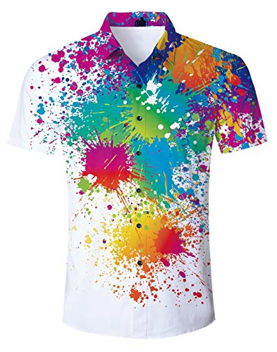 Goodstoworld Mens Tropical Hawaiian Colorful Paint Shirts Swimwear Crazy Hot Printed Summer Hawaii Holiday Retro Youth Top Short Sleeve Dress Party Luau Shirt Gay Pride Blouses XXL