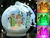 Light Up Glass Ornament - Nativity Scene with Mary Joseph and Baby Jesus - LED Color Changing Christmas Ornaments - Glass Ornaments