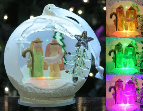 Light Up Glass Ornament - Nativity Scene with Mary Joseph and Baby Jesus - LED Color Changing Christmas Ornaments - Glass Ornaments by Banberry Designs