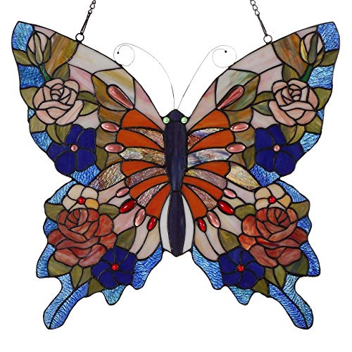 (Bieye Swallowtail Mariposa Butterfly Tiffany Style Stained Glass Window Panel with Chain, 22