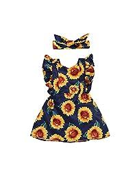 WOCACHI Toddler Baby Girls Clothes, Children Kids Baby Fly Sleeve Sunflower Printed Princess Dress+Headbands Set