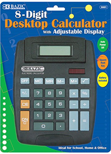 Bazic 8-Digit Large Desktop Calculator [48 Pieces] - Product Description - Bazic 8-Digit Large Desktop Calculator 5.5'' X 6''. Perfect For Home, Office Or School Supplies 8-Digit Display Auto Power Off Square Root Keys Full Function Memory Adjusta ... by BIMS