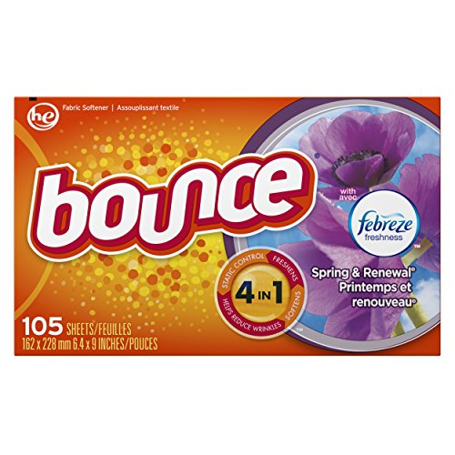 Bounce Fabric Softener Dryer Sheets with Febreze Freshness, Spring & Renewal, 105 Count (Spring Sheets Dryer Bounce)