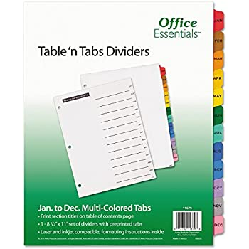 Office Essentials 11679 Table n Tabs Dividers, 12-Tab, Letter