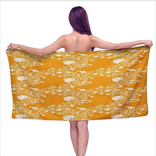 Custom Bath Towel Orange,Tropical Fishes Sea Stars Stylized Cute Blossoms and Leaves Jellyfish Ocean Marine,Orange White,W10 xL39 for Bathroom Striped Cotton Braided Star Blossom