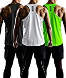 DRSKIN Men's 3 Pack Dry Fit Y-Back Gym Muscle Tank Mesh Sleeveless Top