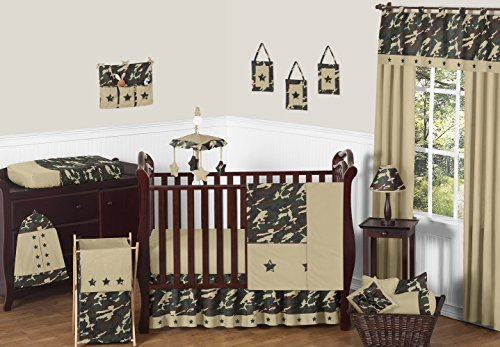 Sweet Jojo Designs 11-Piece Green and Brown Camo Camouflage Military Baby Boy Bedding Crib Set Without Bumper (Camouflage Crib Sheet Sets)