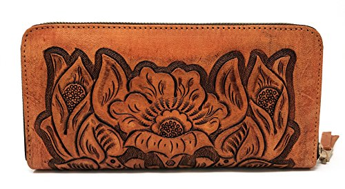 Mauzari Sayulita Designer Paras Vintage Floral Artisan Handmade Leather Wallet - Leather Tooled