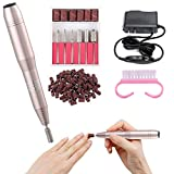 Electric Nail Drill for Acrylic Gel Dip Nails - 20000 RPM Handpiece Grinder Portable Electric Nail File Machine with Nail Brush & Sanding Bits Bands for Salon Home Use (Gold)