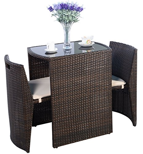 Outdoor Furniture - Patio Wicker Dining Table and Chairs With Cushions Set 3 Piece- Brown - by Global Group (Outdoor Round Sectional Furniture)
