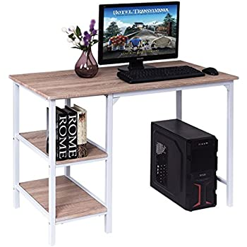 TANGKULA Computer Desk Home Office Wood Workstation Writing Table With  Shelves
