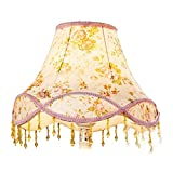 Eastlion Creative Jacquard and Bead 30cm Retro Palace Pendant Handmade Pendant lampshade for Table Lamps,Floor Lamps,Wall Lamps,Pink Rose 20x30x22cm