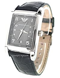 Emporio Armani Date Leather Band Mens Watch