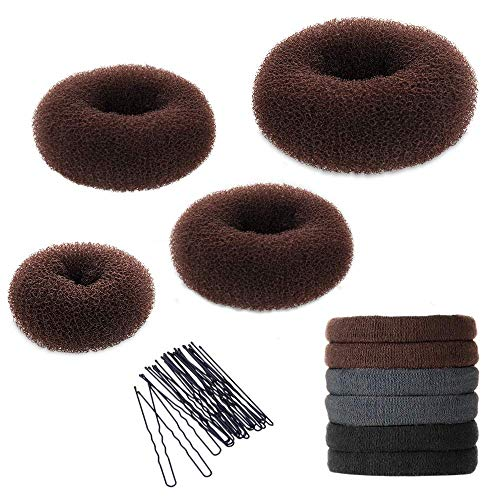 Hair Bun Maker Set, YaFex Donut Bun Maker 4 Pieces(1 Large, 2 Medium and 1 Small), 5 Pieces Elastic Hair Ties, 20 Pieces Hair Bobby Pins, Brown (Ponytail Sock)